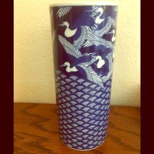 Accents - Vintage Asian Birds Ceramic Vase Cobalt Blue